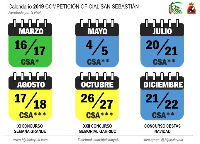 CALENDARIO 2019 COMPETICION OFICIAL SAN SEBASTIAN