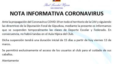 CORONAVIRUS – NOTA INFORMATIVA