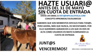 HAZTE USUARI@ EN MAYO Y NO PAGUES CUOTA DE ENTRADA